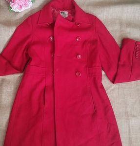 Tulle wool red coat sz S